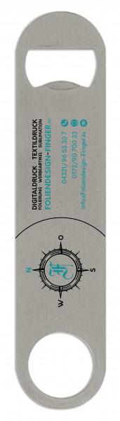 Edelstahl Flaschenoeffner - groß- Flaschenoeffner-Werbetraeger-Werbung-personalisiert-Foliendesign-Finger
